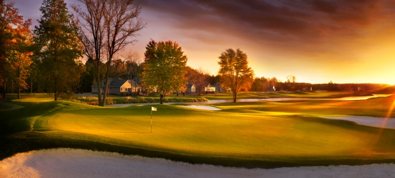 The sun sets on the course at Red Tail Golf Club