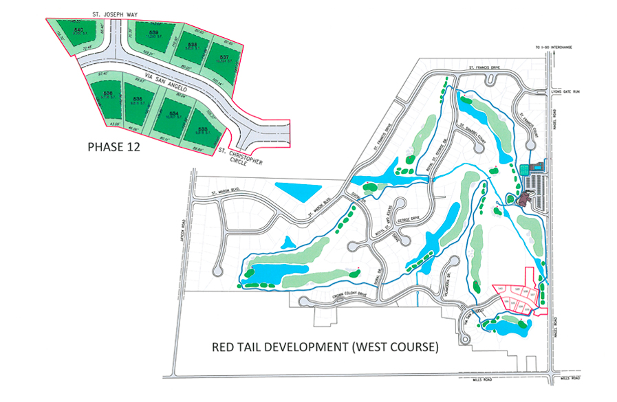 Map of the West Course neighborhood plan at Red Tail Golf Club